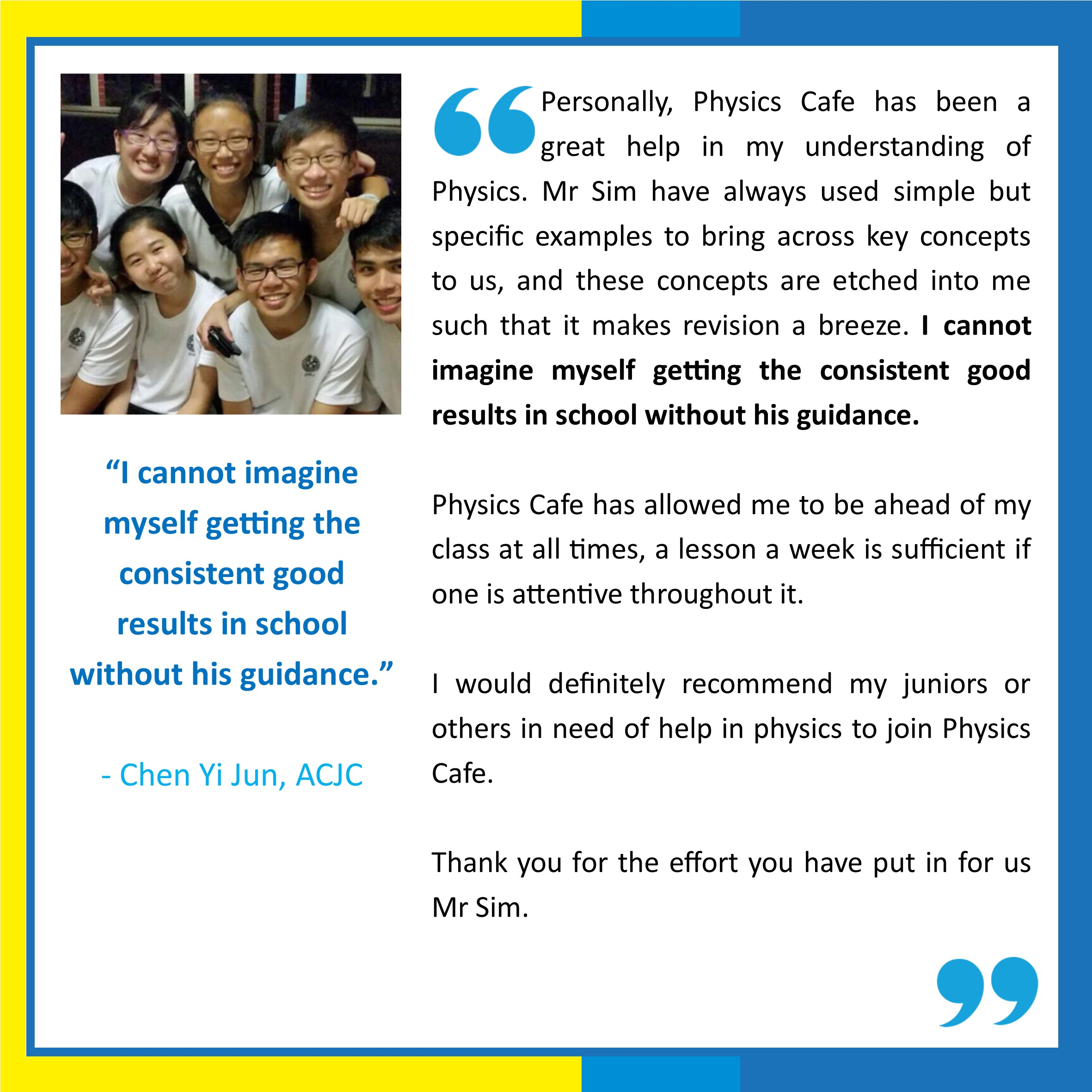 a level o level physics tuition exam performance updated in 2017 click on the blue link of the student to view photo of students and what they say about the physics cafe experience